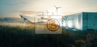 Fototapete Smart grid renewable energy system solution for future smart cities at sunset. 3d rendering