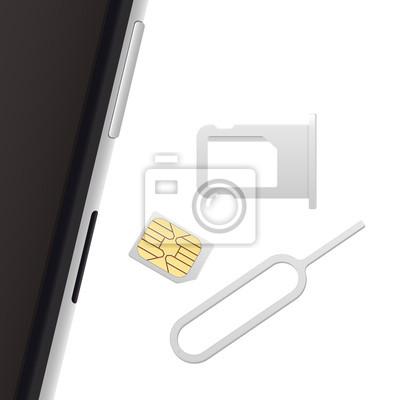 Nano Sim Karte.Fototapete Smartphone Kleine Nano Sim Karte Sim Kartenfach Und Auswurfstift