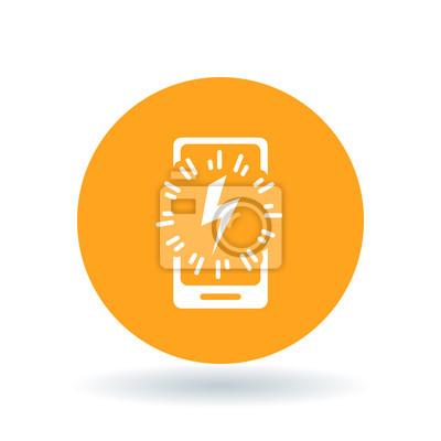 Smartphone-netzteil-symbol. handy-blitz schild. bewegliches ...