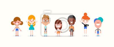 Fototapete Smiling kids character in flat design style isolated. Diversity children cartoon vector illustration.