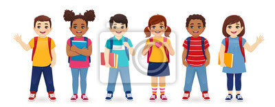 Fototapete Smiling school children boys and girls with backpacks and books set isolated vector illustration. Multiethnic cute kids.