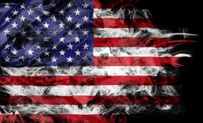 Fototapete Smoke shape of national flag of United States of America isolated on black background.
