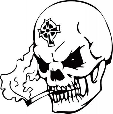 smokingn skull tribal decoration tattoo