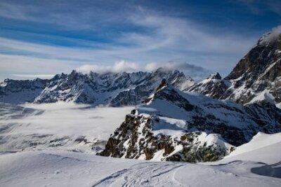 Fototapete snow covered peaks in the Swiss Alps Matterhorn glacier paradise