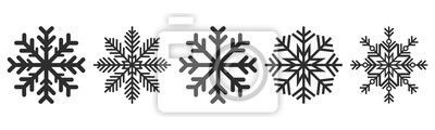 Fototapete Snowflakes icons set. Vector drawing. Isolated object on a white background. Isolate.