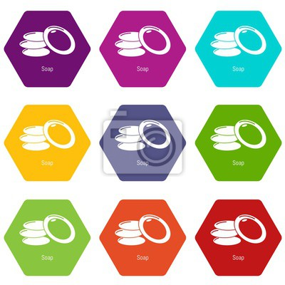 Soap icons 9 set coloful isolated on white for web