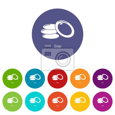Soap icons color set vector for any web design on white background