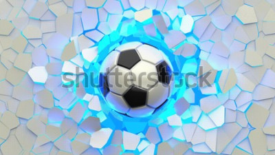 Fototapete Soccer ball crash blue lighting white wall. The wall was cracked. 3D illustration. 3D high quality rendering.