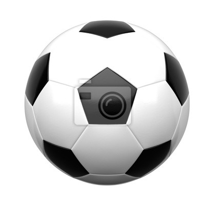 Fototapete Soccer ball isolated on white background 3d rendering