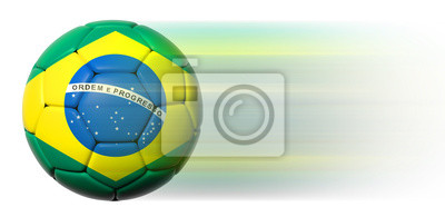 Soccer ball with Brazilian flag in motion isolated