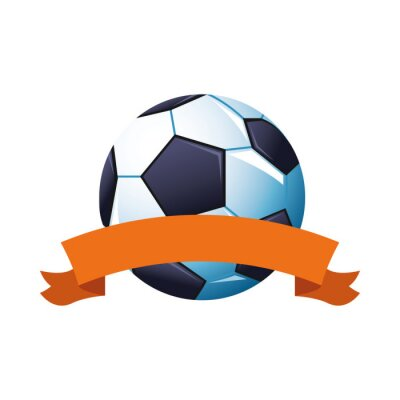 soccer balloon sport championship with ribbon frame