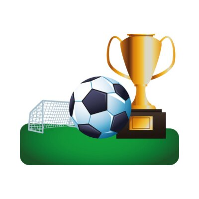 soccer balloon with trophy cup in the camp sport championship