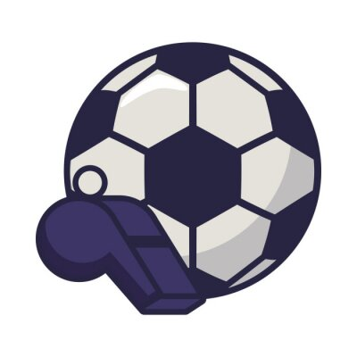 soccer sport balloon with referee whistle