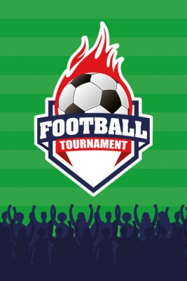 soccer sport emblem poster with balloon on fire