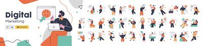 Fototapete Social Media Marketing illustrations. Mega set. Collection of scenes with men and women taking part in business activities. Trendy vector style