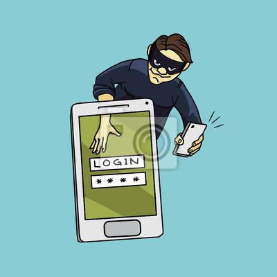 Social network hacker stealing password from smartphone screen