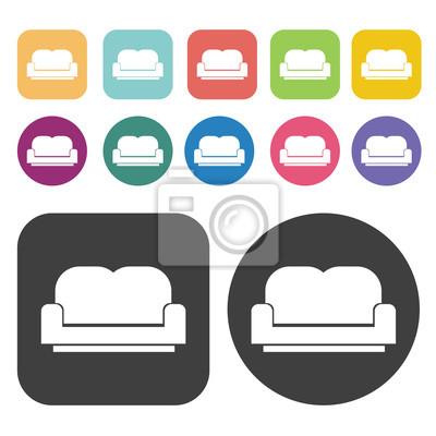 Fototapete Sofa Icon. Möbel Icons Gesetzt. Runde Und Rechteck Bunte 12