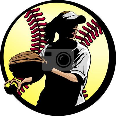 Softball Fielder Closeup with Ball Background