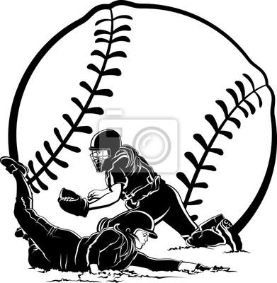 Softball-Läufer, der unter Tag zu Hause schiebt