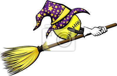 Softball Mit Einem Zauberer Hut Reitet Eine Hexe Besen Für Halloween