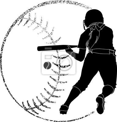 Softball-Silhouette Bunt