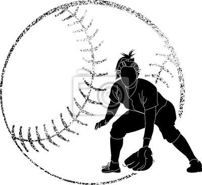 Softball-Silhouette Fielder