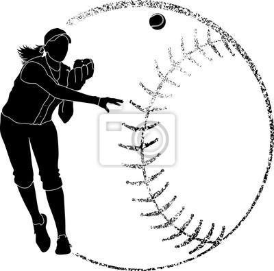 Softball Silhouette Throw