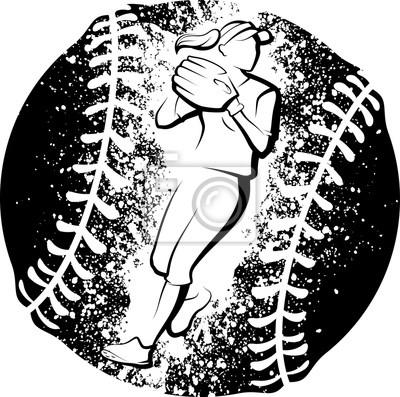 Softball-Spieler, der mit einem Schmutz-Art-Ball wirft