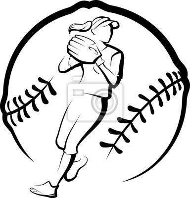 Softball-Spieler, der mit stilisiertem Ball wirft