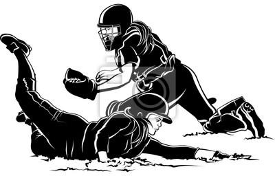 Softball-Spieler, der nach Hause unter Tag schiebt