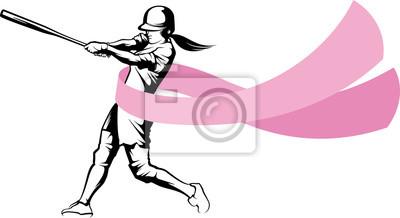 Softball-Teig mit Brustkrebs-Band-