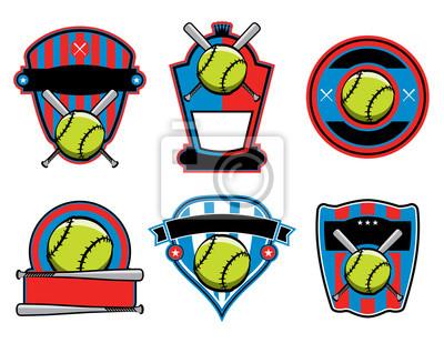 Softball und Fledermaus Embleme und Abzeichen