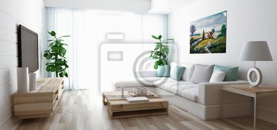 Soggiorno moderno con divano, fernsehen und parkett fototapete ...