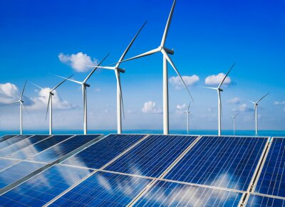 Fototapete Solar energy panel photovoltaic cell and wind turbine farm power generator in nature landscape for production of renewable green energy is friendly industry. Clean sustainable development concept.