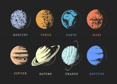 Fototapete Solar system planets, drawn sketches in vector.
