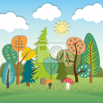 Sommer-Cartoon-Landschaft
