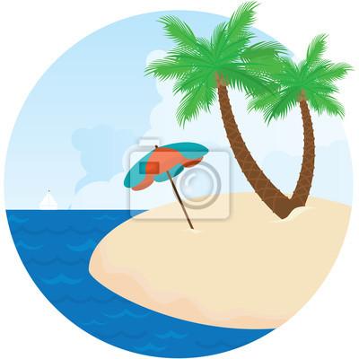 Sonnenschirm strand clipart  Sommer-insel. sonnenschirm, meer und palmen am strand. fototapete ...