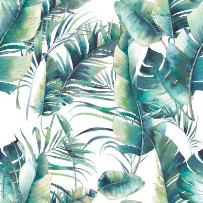 Fototapete Sommer Palme und Bananenblätter nahtlose Muster. Aquarell Textur mit grünen Zweigen auf weißem Hintergrund. Hand gezeichnetes tropisches Tapetenentwurf