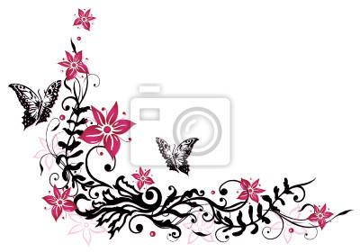 Sommer rahmen bl tter laub ranke rosa schwarz for Mural de flores y mariposas