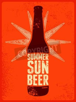 Fototapete Sommer, Sonne, Bier. Typografisches Retro Grunge-Bierplakat. Abbildung.