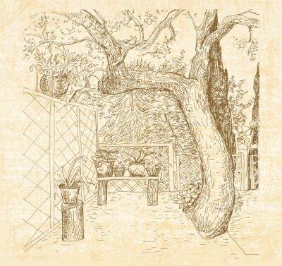 Fototapete Sommer sonnigen Terrasse in der Kunst doodle Stil Stift. Hand gezeichnet Vektor Skizze mit Leinwand texturierter Hintergrund.