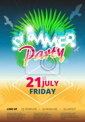 Sommer-strand-partyereignisplakat und flyer-schablonenentwurf ...