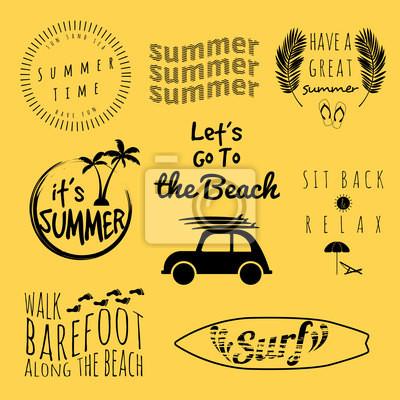Sommer Typografie Aufkleber-Set