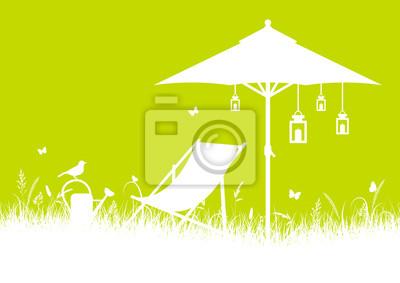 Sommer Wiese Canvas Stuhl Sonnenschirm Din Weiß Hellgrün