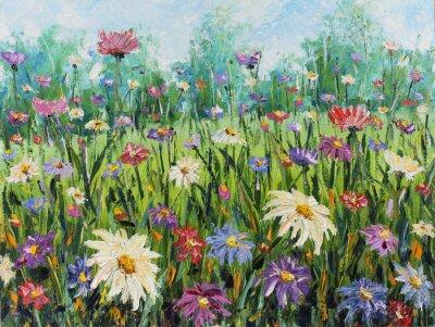Fototapete Sommer Wildblumen, Ölgemälde