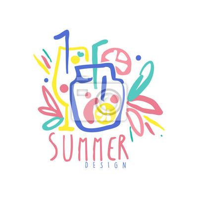 Sommerlogodesign, aufkleber für sommerferien, restaurant, café ...
