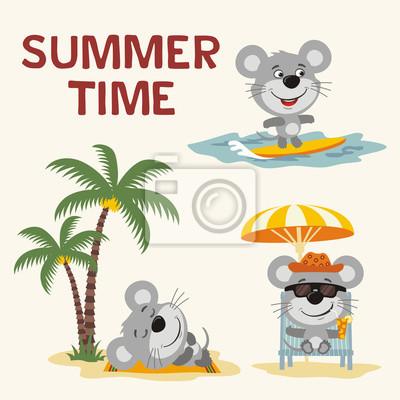 Sommerzeit setzen sie glückliche maus, die auf strand stillsteht.  fototapete • fototapeten Sonnenbank, Strandkorb, Liege   myloview.de
