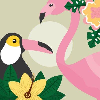Fototapete Sommerzeit tropischen Vögel Tukan und Flamingo-Vektor-Illustration