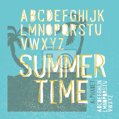 Sommerzeit Vektor Alphabet. Handgezeichnete Briefe. Sommer-Strand-Partyplakat
