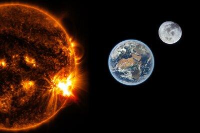 Fototapete Sonne, Erde und der Mond - Elemente dieses Bildes von der NASA eingerichtet
